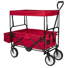 LTL Shop Folding Wagon W Canopy Garden Utility Travel Collapsible Cart Outdoor Yard *** Click on the image for additional details.