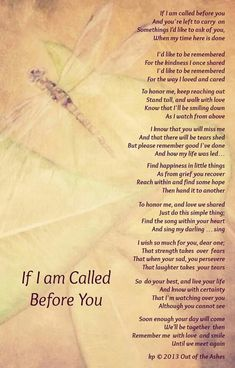 If I am Called Before You Poem