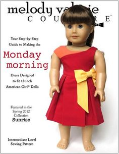 Monday Morning Dress 18 inch Doll Clothes Pattern PDF Download | Pixie Faire
