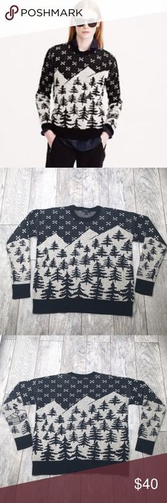 J. Crew Black and Cream Pine Tree Sweater S A wintertime classic J. Crew pine tree sweater. Black and cream. 100% wool. EUC with no signs of wear. Size small but an oversized fit J. Crew Sweaters Crew & Scoop Necks