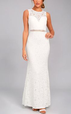 Music Of The Heart White Lace Maxi Dress via @bestmaxidress