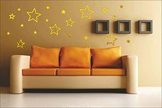 Stars Golden 3D Mirror Finish Acrylic Wall Sticker | Wall Decor SRG India  #homedecor #wallsticker #interiordesign #wallart #home #interior Removable Wall Stickers, Wall Decor Stickers, Wall Decals, Wall Art, 3d Mirror, India, Pure Products, Silver Stars, Interior Design