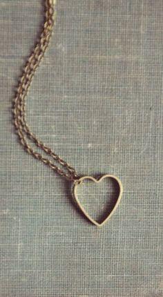 hollow brass heart necklace