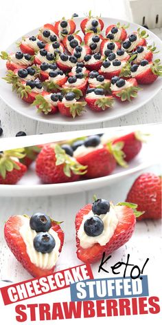 Keto Cheesecake Stuffed Strawberries - Easy last minute keto dessert idea! These fun little cheesecake stuffed strawberries are easy to ma - Low Carb Sweets, Low Carb Desserts, Low Carb Recipes, Dessert Recipes, Diet Desserts, Pudding Desserts, Drink Recipes, Snack Recipes, Cooking Recipes