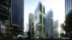 Shenzhen Transsion Tower, View from North, Image by Aedas Commercial Architecture, Classical Architecture, Architecture Design, Tower Building, Building Design, Green Terrace, Open Staircase, Old Abandoned Houses, Old Mansions