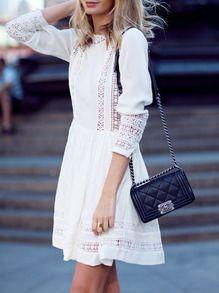 Kleid Langarm mit Spitzeneinsatz-weiß EUR€29.09