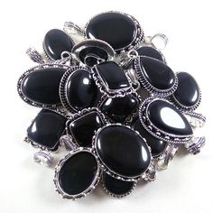 Christmas Sale !! Wholesale Lot 100 PCs Black Onyx Silver Plated Pendant Jewelry #Gajrajgems92_9 #Pendant