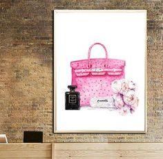 Hermes Bag art print Chanel noir perfume print Peony flowers