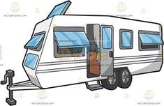 A European Caravan : A European caravan with awning type windows single door four wheels and an attachment in front Travel Clipart, Single Doors, Vector Illustrations, Caravan, Recreational Vehicles, Wheels, Clip Art, Windows, Type