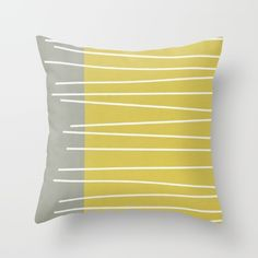 MId century modern textured stripes Throw Pillow