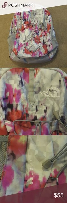 """The North Face Backpack Unique, multi colored Jester backpack. The main compartment features a padded 15"""" laptop sleeve. Lash additional layers or equipment to the bungee cords crisscrossing the front of the pack to keep them easily accessible. FlexVent shoulder straps for ultimate ventilation. Used for 1 semester. Like new! Make me an offer! The North Face Bags Backpacks"""