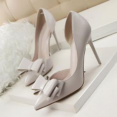 7581b23b73f LAKESHI Women Pumps Wedding High Heels Shoes Sweet Stilettos Bowtie Pointed  Toe Shoes