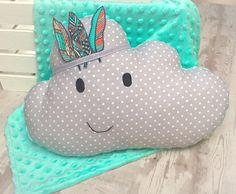 Cloud pillows for nursery Grey pillow Mint pillow Cloud