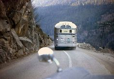 Cool pic of Greyhound bus in the mountains.