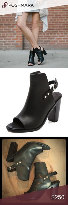 """Rag & Bone Wyatt peep toe leather sandal Rich Italian leather shapes rag & bone's stacked-heel Wyatt sandal, in a seamless fusion of boot-inspired style and breezy mule design. Worn a handful of times. Size 37.  4"""" heel 5"""" shaft height. Adjustable ankle strap with buckle closure. Italian leather upper/leather sole. By rag & bone; made in Italy. rag & bone Shoes Sandals"""