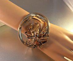 Sterling Cuff Bracelet Orchid 2.5 Wide 61 by LynnHislopJewels