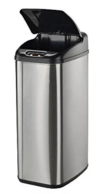 1home 68L 18 Gallon Stainless Steel Trash Can Silver Automatic Sensor Touchless