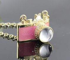Vintage golden  PINK camera necklace pendant  by BeautyandLuck, $4.99