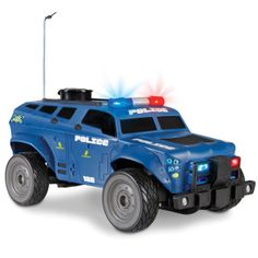 """Talking Remote Controlled Police Swat Vehicle   This is a remote controlled police swat vehicle that lets you record your own message to broadcast. With the touch of a button on the roof, you can record 15 seconds of audio to instruct suspects to """"Drop that toy!"""" or """"Stay out of my room!"""" When played back with the three-channel controller, the recording sounds like an instruction uttered via megaphone by an officer inside the car. Working lights and siren"""
