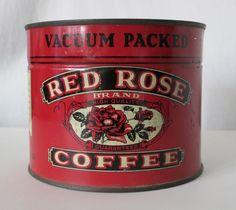 RED ROSE COFFEE 1 LB SIZED VINTAGE TIN, WESTERN GROCER MILLS, MARSHALLTOWN, IOWA #REDROSE