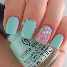 """China Glaze """"At Vase Value"""" with floral accent"""