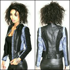 NWT Faux Leather Blue Denim Lace Jacket,  M - Luxury look and feel,  elegant, soft and chic jacket featuring the composition of denim,  black lace and faux leather   - Fabric content - Shell 1 : 100 % polyurethane, Shell 2 : 95 % cotton,  5 % spandex,  Lining 100 % polyester Jackets & Coats Jean Jackets