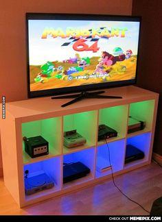 Modified Ikea bookshelf turned into a console cabinet