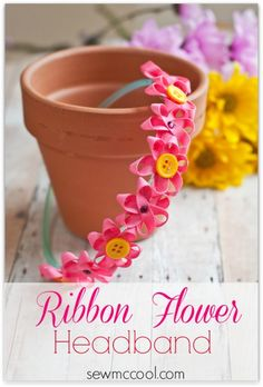 Beautiful ribbon flower headband tutorial for #spring #easter by sewmccool.com. So easy to make!