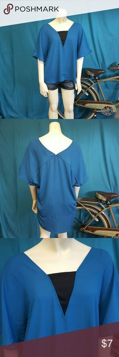 Flowy blue blouse size L Size large blue flowy blouse by appraisal. Made from 100 % polyester. New. Short sleeve with high low design. appraisal Tops Blouses