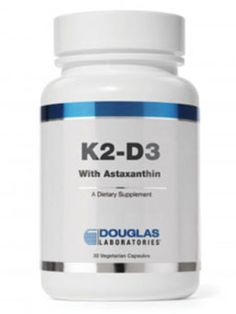 FREE UPS 2 Day DELIVERY ON ALL DOUGLAS LABS ORDERS! :)  Douglas Labs - K2 D3 w Astaxanthin 30 vegcaps 202114-30X SD Nutritional Institute strives to help you become healthier by offering over 30,000 natural health products to fit your needs! We truly care about you and your family's health and well-being.  Thank you so much for considering the Nutritional Institute. Established in 2002.