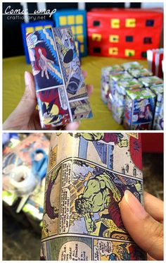 superhero comic wrapping paper