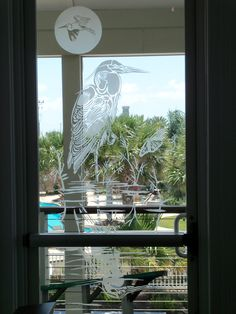 SANDBLASTED ETCHED GLASS WINDOWS   FLOYDS ON THE WATER RESTRAUNT AND BAR HITCHCOCK TX