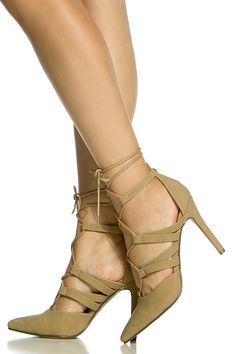 Taupe Faux Suede Wrap Around Lace Up Heels @ Cicihot Heel Shoes online store sales:Stiletto Heel Shoes,High Heel Pumps,Womens High Heel Shoes,Prom Shoes,Summer Shoes,Spring Shoes,Spool Heel,Womens Dress Shoes