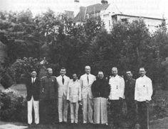 Left to right: Kuan Te-mao, General Kuei Yung-ch'in, Friedrich Busse, Weng Wen-hao, Hans Klein, H.H. Kung, General von Reichenau, unidentified Chinese officer, Major Völker (Nanking 1936, courtesy Friedrich Busse)