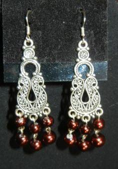 Swarovski glass chocolate pearl earrings