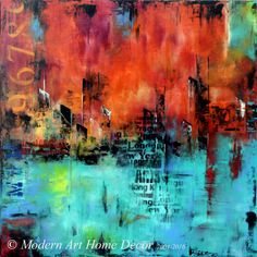 Large abstract painting, abstract urban modern cityscape in aqua green and orange, with purple and pink accents, original abstract wall art. Acrylic painting on canvas art. Rich, vibrant, one of a kind wall art. This abstract skyline painting is handmade in my studio.  READY TO SHIP ORIGINAL PAINTING - Handmade! MEDIUM: Quality Acrylic  SIZE: 48x48x1.5 Stretched ready to hang (for us customers only)/ unstretched outside US. Please use the drop down menu on the right to select your option...