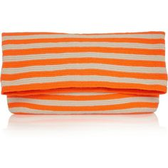 Sophie Anderson Liliana woven cotton clutch (5,980 THB) ❤ liked on Polyvore featuring bags, handbags, clutches, clutch bag, bright orange, orange handbags, cotton purse, stripe handbag, stripe purse and sophie anderson