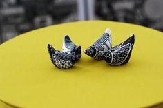 Bird Totems / Black and White / Nuthatch / Geometric / Tribal / Modern Art Figurine