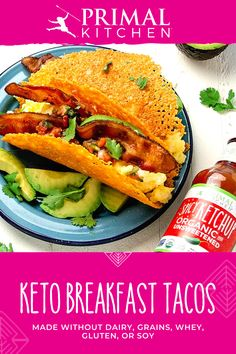 Keto Breakfast Tacos with Spicy Ketchup Low Carb Recipes, Diet Recipes, Cooking Recipes, Healthy Recipes, Recipes Dinner, Cooking Tips, Corn Recipes, Mexican Recipes, Lunch Recipes