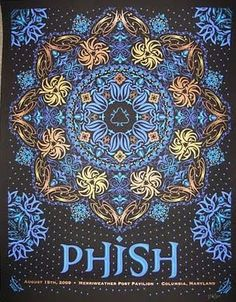 Signed and numbered out of Year: 2009 Type: Limited edition screen printed poster Size: Location: Columbia, MD Venue: Merriweather Post Pavilion Phish Posters, Rock Posters, Concert Posters, Music Posters, Screen Print Poster, Poster Prints, Merriweather Post Pavilion, Grateful Dead Music, Expressive Art