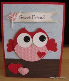 VIDEO Stamp & Scrap with Frenchie: Valentine Owl Punch Art