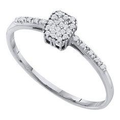 10k White Gold 0.07Ctw Diamond Cluster Ring: Ring