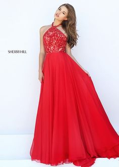 Beautiful Beaded Halter Bodice Red Low Open Back Evening Gown