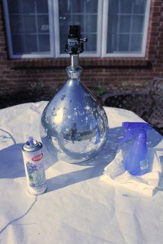 Mercury Glass Bottle Lamp