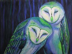 Diane Tharp - barn owls in green and blue