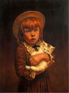 Jim Daly (b. American) - A new friend Dogs And Kids, Animals For Kids, Munier, Portraits, Cat Sleeping, Norman Rockwell, Beauty Art, Dog Art, American Artists