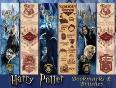 A set of three bookmarks & backs. Also enclosed are 2 sets of brushes - crests & horcruxes. Please keep art free. Several credits are due to DA members:- Marauder's map brushes - Cres...