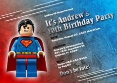Superman Birthday Invitations | Kustom Kreations Superhero Birthday Invitations, Superhero Party, 10th Birthday Parties, 5th Birthday, Superman Birthday, Superman Man Of Steel, Invitation Cards, Kustom, Ideas