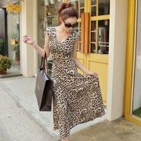 Wish | Women's Fashion New Sexy Elastic Leopard Print Sleeveless Slim Package Hip Dress Beach Skirt (Size: One Size, Color: Yellow)