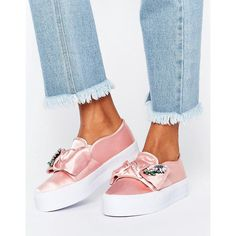 ASOS DENI Bow Embellished Flatform Trainers (£28) ❤ liked on Polyvore featuring shoes, sneakers, pink, pink prom shoes, polish shoes, party shoes, prom shoes and wide shoes